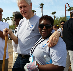 Former United States President, Bill Clinton with Keep Girls Safe President, Sein Lengeju.